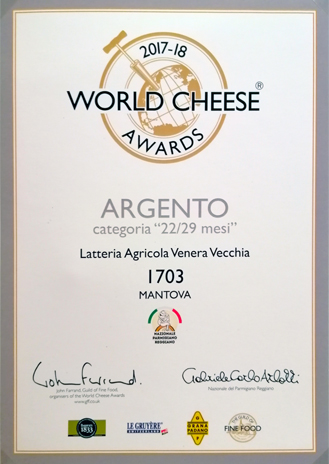 ARGENTO 22/29 mesi - World Cheese Awards 2017/18