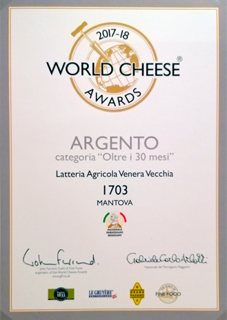 ARGENTO oltre 30 mesi - World Cheese Awards 2017/18